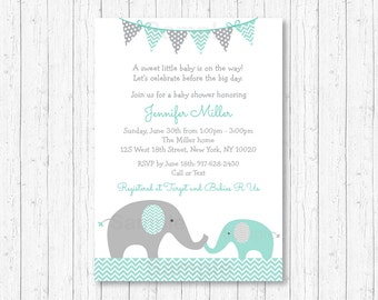 Elephant Baby Shower Invitation / Elephant Baby Shower / Elephant Invitation / Mint Green & Grey / Gender Neutral / PRINTABLE A101