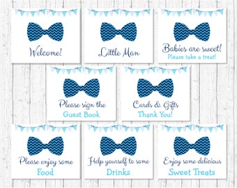 Cute Bow Tie Baby Shower Table Signs / Bow Tie Baby Shower / Chevron Pattern / 8 Printable Party Signs / INSTANT DOWNLOAD A113