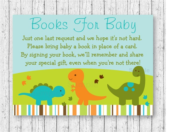 Baby Dinosaurs Printable Baby Shower Book Request Cards Ebay