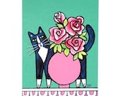 Whimsical Cat Art Print/ Black & White Tuxedo Kitty with Pink Roses by Susan Faye