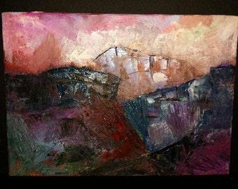 """Original Oil Landscape Painting 5x7"""" Canyon Desert"""