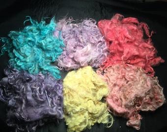 "SALE - 1 oz. 5""- 6"" red pink purple yellow blue Suri Alpaca fiber fleece spinning yarn felting animal sculpts"