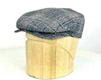Men's Driving Cap in Gray Plaid Wool - Men's Flat Cap - 3 WEEKS FOR SHIPPING