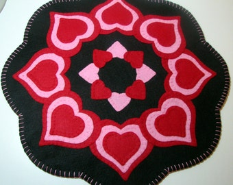"17"" Wool-Felt VALENTINE HEARTS Penny Rug - Candle Mat - Valentine Decor - Home Decor - Holiday Decor - Primitive-Folk Art - Fiber Art"