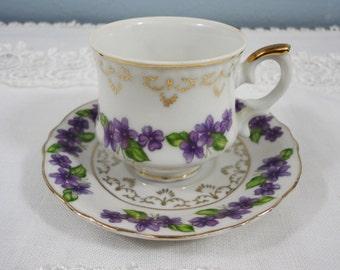 Vintage Violets Demitasse Cup and Saucer