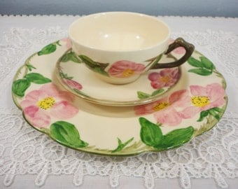 Franciscan Ware Simple Pink and Green Floral Hand Decorated Trio - Cup, Saucer, Plate