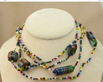 Vintage Necklace - Vintage Colorful Millefiore Glass Beaded Necklace Extra Long