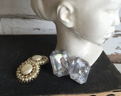Vintage Clip Earrings - XL - Costume Pearl Cabachon