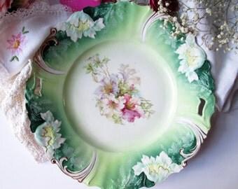 Antique German Saxe Green Pink Floral Handled Platter - Weddings Bridal