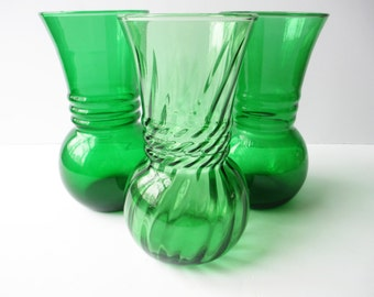 Vase Collection Green Glass Set of Three - Vintage Chic