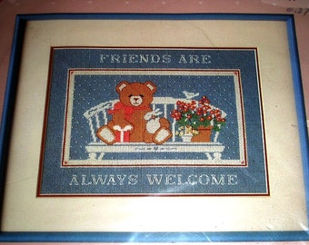 Friends Are Always Welcome 1986 Dimensions Floss Needlepoint Kit