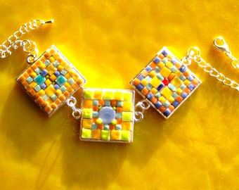 Bracelet. Mosaic Bracelet. Silver Colored Bracelet. Fun. Three large links. Spring Colored Bracelet. Greens, Yellows, Orange, Coral, Cobalt.