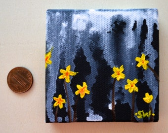 Tiny art, Miniature, Yellow Flowers rain night sky, Miniature Original Oil Painting, Dollhouse Art, American Girl Doll, 3""