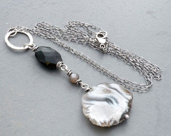 Black and Gray Agate Pendant Necklace, Dangle Necklace, Sliced Agate, Sardonyx Necklace, Black Obsidian Necklace, Sterling Silver, #4695