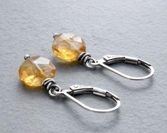 Faceted Citrine Earrings, November Birthday, Petite Golden Yellow Earrings, Golden Yellow Gemstones, Dangle Earring, Sterling Silver, #4701