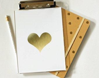 Clipboard - Gold Heart - Foil - Foil Clipboard - Acrylic Clipbard - Office Supplies - Organization