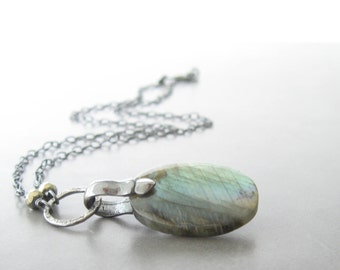 labradorite and silver pendant, gemstone necklace, blue green stone necklace