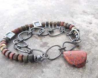 fine silver and jasper bracelet, metalwork bracelet, rustic silver and stone bracelet