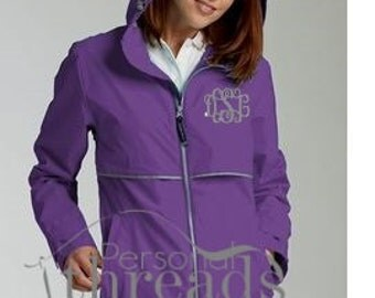 Monogrammed Women's Rain Jacket, Sorority Jacket, Embroidered Jacket, Rain Slicker, Charles River, Preppy