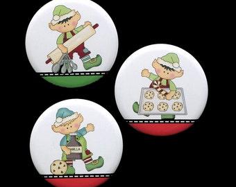 Elf Christmas Magnets - Set of 3 Magnets - Refrigerator Magnet - Stocking Stuffer - Baking Elf - 2.25 Inch Magnet