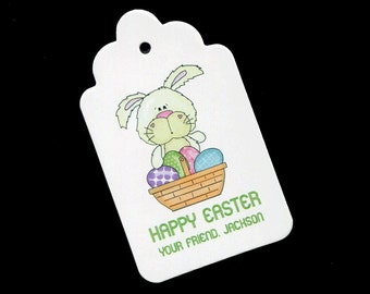 Easter basket tags etsy personalized easter tags gift tags candy tags favor tags bunny with basket negle Choice Image