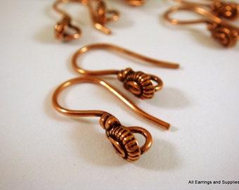 10 Antique Copper Earwires Fishhook 20mm w Teardrop Open Loop 18 gauge - 5 pr - 6183-4