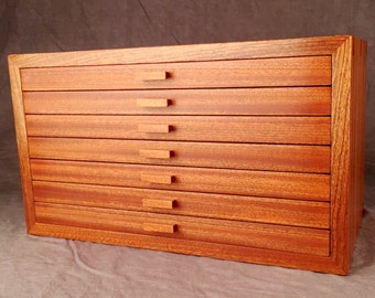 Large Jewelry Box, Quartered Sapele Mahogany  ***Completed and ready to ship***