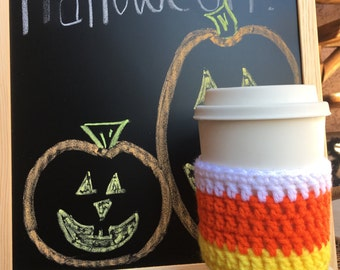 Candy Corn Crochet Coffee Cozy