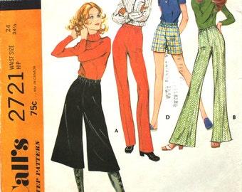 UNCUT Gaucho Culottes and Shorts Pattern Waist 24 McCalls 2721