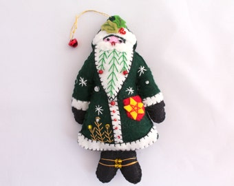 Green Santa is Coming to Town Felt Santa Ornament and Purple Santa
