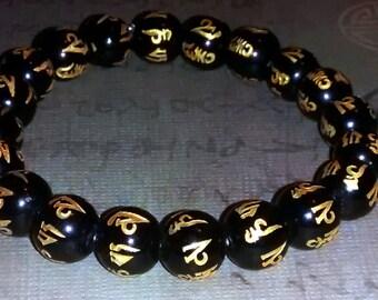 om mani padme hum Simple Black Agate Unisex 21 count Bracelet