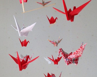 """22 Small Origami Cranes Mobile - Red and White, small 22 cranes, 3"""" Solid Paper and Chiyogai Paper, Washi and Pritend Chiyogaimi, Home Decor"""