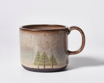 Black Ceramic Pine Trees Mug