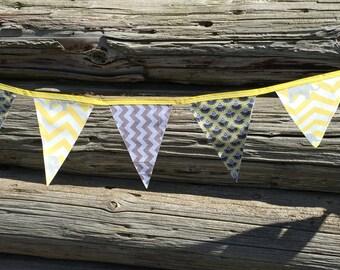 Grey Yellow Chevron on Lemon Birthday Party Banner