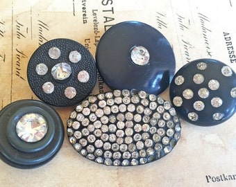 Vintage Plastic and Rhinestone Button Mix~ 5 buttons