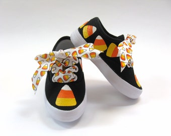 Candy Corn Shoes, Halloween Black Sneakers with Orange Candies, Hand Painted for Baby and Toddlers