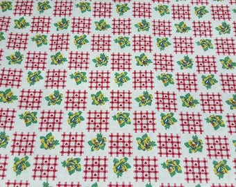 SALE vintage 70s novelty fabric featuring yellow and green roses and red plaid with mini heart print, 1 yard, 5 available, priced PER YARD