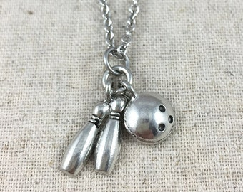 Bowling Charm Necklace, Silver Bowling Jewelry, Bowling Charm, Bowling Ball Charm Necklace, Bowling Pins Charm