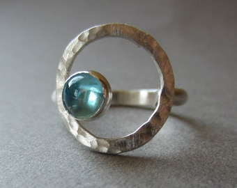aqua apatite silver open circle ring size 6.75 READY TO SHIP