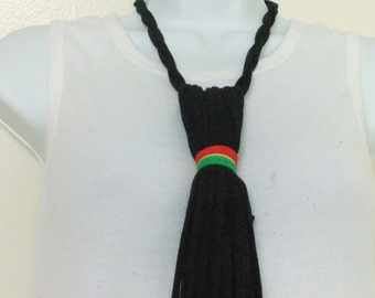 The Necktie Fabric Statement Necklace Unisex T Shirt Jersey Adjustable Bib Multi Strand Multi Color Ethnic Tribal