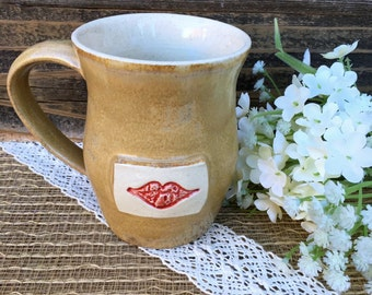 CLEARANCE SALE - Stoneware Coffee Mug w/Lips for Her, Tea Mug,  Rustic Kitchen Decor