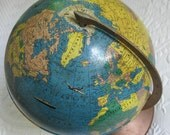 Vintage Globe .  9 inch globe . Rand McNally Globe . globe on Metal Base . rand mcnally . globe