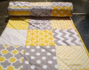 Baby Quilt,baby girl quilt,baby boy bedding,patchwork crib quilt,grey,yellow,modern,chevron,dots,newborn,quilt,toddler,crib,Mellow Yellow