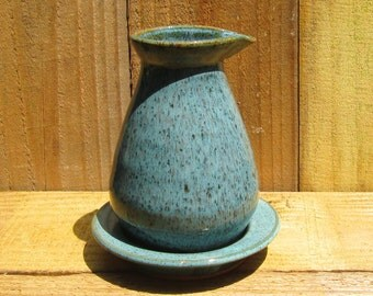 Pottery Pitcher with Drip Tray - Antique Jade on Speckled Clay - 17 oz.