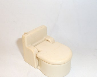 Vintage Fisher Price Bathroom White Toilet Little People Toy