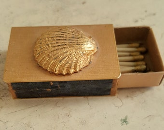 Tiny Antique Brass Matchbox with Sea Shell