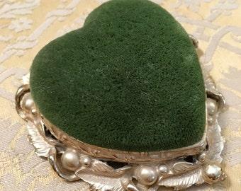 Gold Filigree S. R. Florenza Pin Cushion, 1950's, Vanity Dresser, With Green Velvet