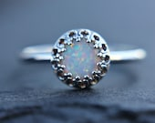 Opal stacking ring - stackable ring - dainty opal ring - sterling silver - silver opal ring - crown setting