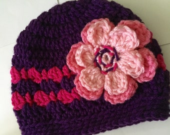 Crochet Hat, Purple, Fuchsia Pink, Medium Pink, Handmade Beanie with flower