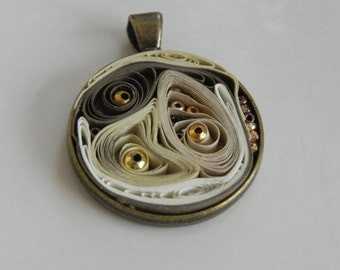 Earthy Green, Gold, Tan and off White Abstract Round Bronze Pendant